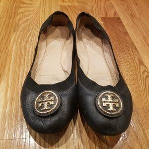 Tory Burch Caroline Black Flats with Buckle Size 8